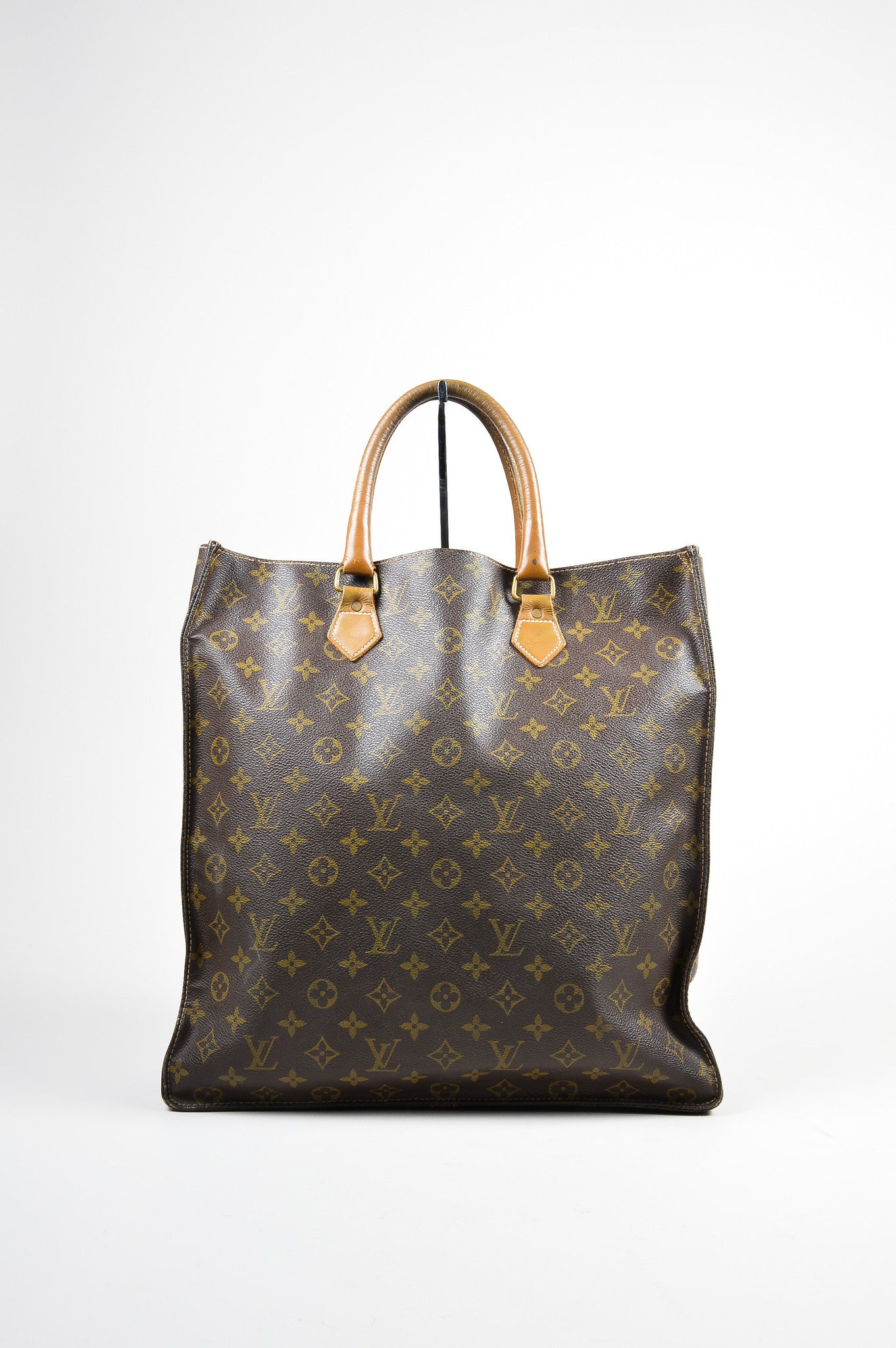 "Brown Louis Vuitton Canvas and Leather Monogram North South ""Sac Plat"" Tote Bag Frontview"