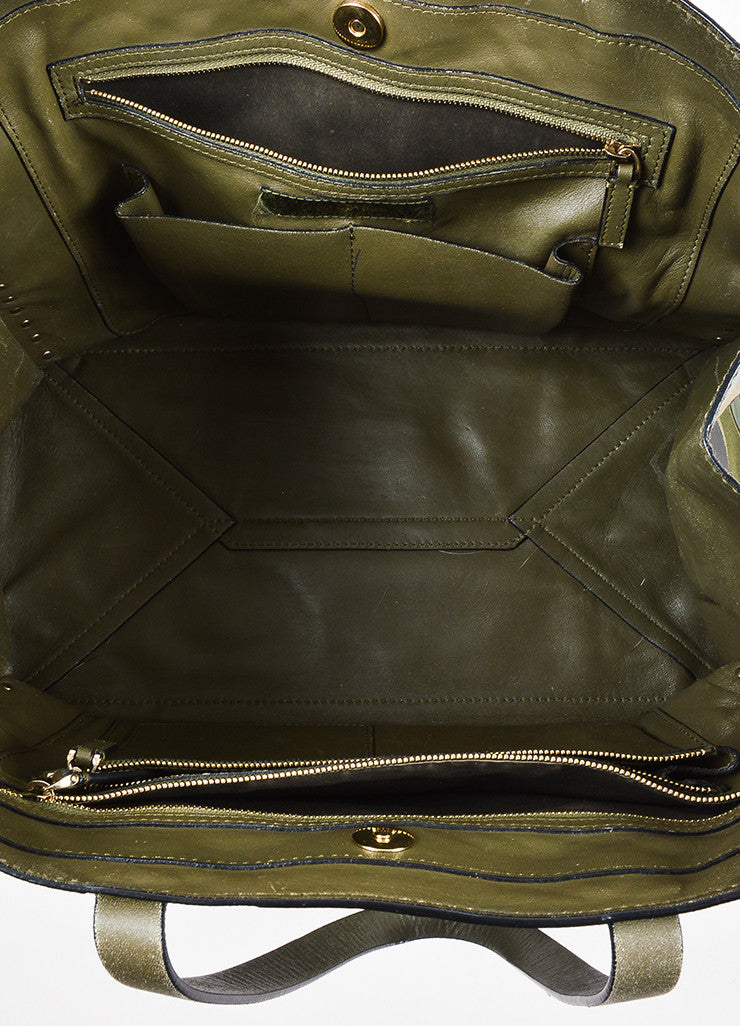 "Valentino Garavani Green and Black Canvas and Leather Camo ""Rockstud"" Tote Interior"