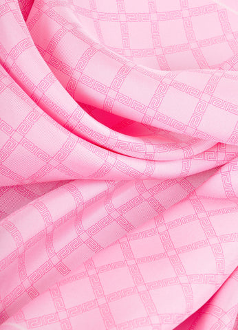 Versace Pink and Cream Frieze Pattern Silk Scarf Detail