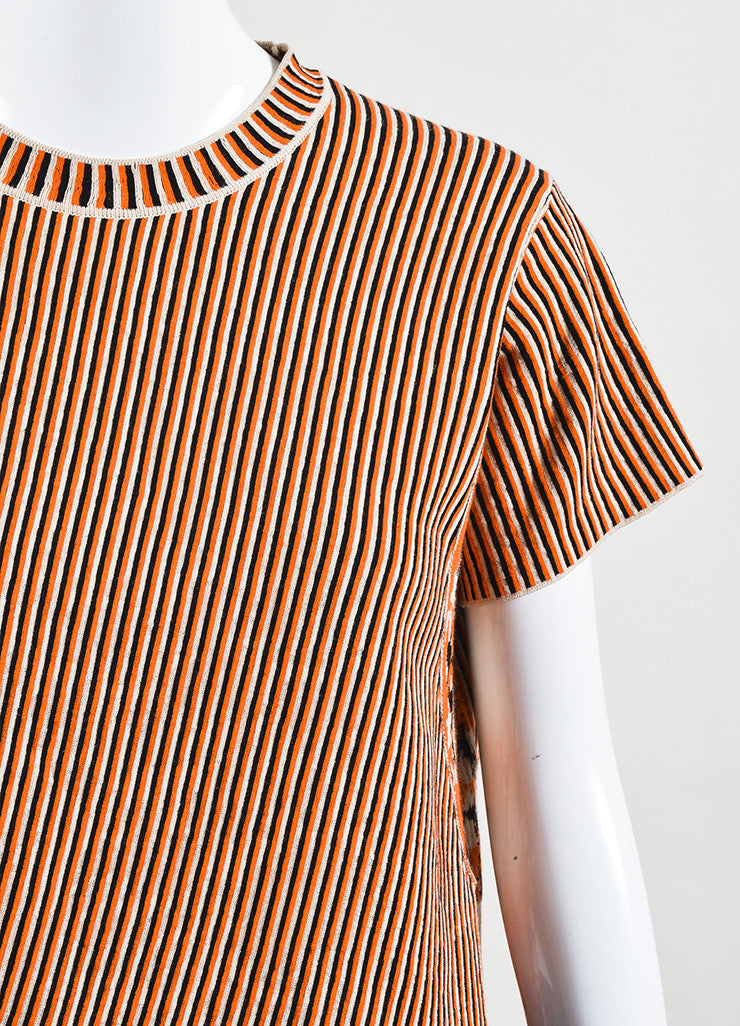 "Acne Studios Cream and Orange Jacquard Knit ""Jana Stripe"" T-Shirt Detail"
