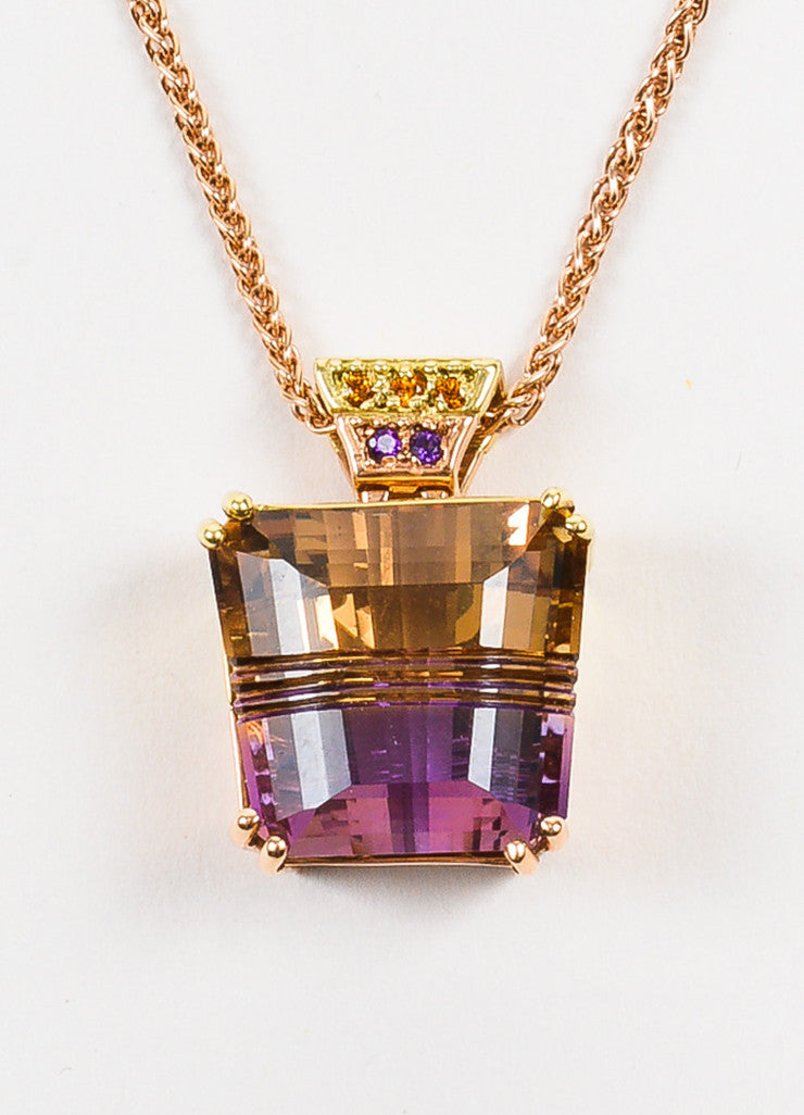 18K Rose and Yellow Gold Citrine Amethyst Ametrine Pendant Necklace Detail 2