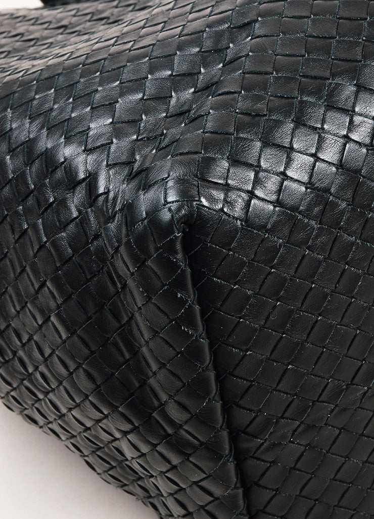 Bottega Veneta Black Intrecciato Woven Leather Buckle Strap Oversized Tote Bag Detail
