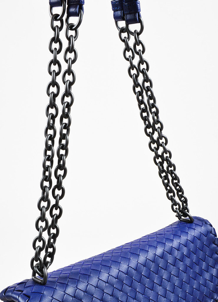 "Blue Bottega Veneta Leather Intrecciato Medium ""Olimpia"" Shoulder Bag Detail 3"