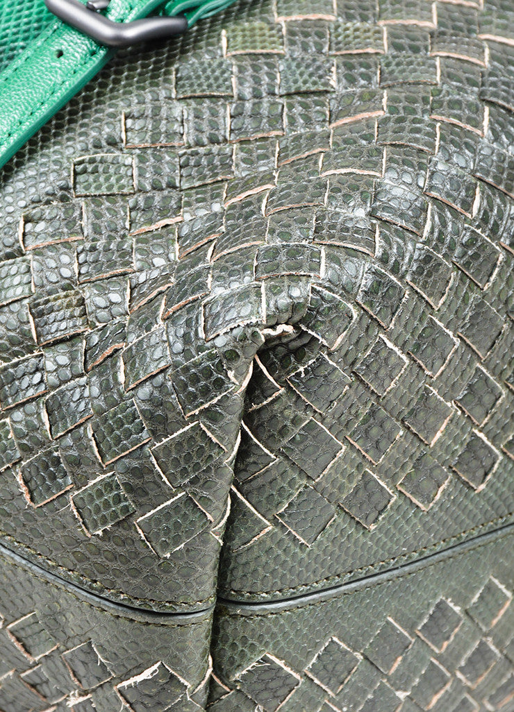 Green and Grey Bottega Veneta Lizard Leather Chain Strap Satchel Bag Detail