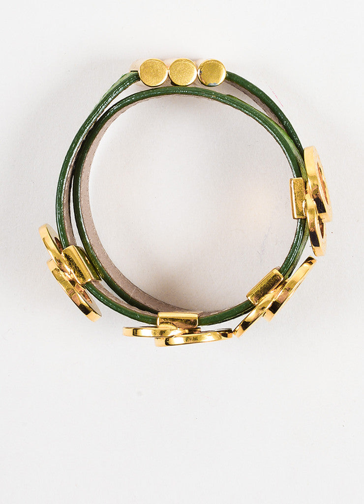 "Bulgari Green and Gold Toned Calfskin Double Coiled ""Nice to Have"" Wrap Bracelet"