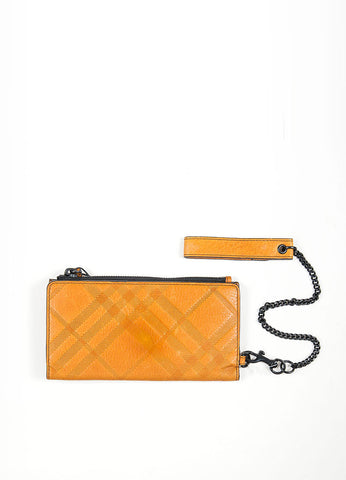 "Black and Tan Burberry Leather Check Embossed ""Newport"" Wristlet Wallet Frontview"