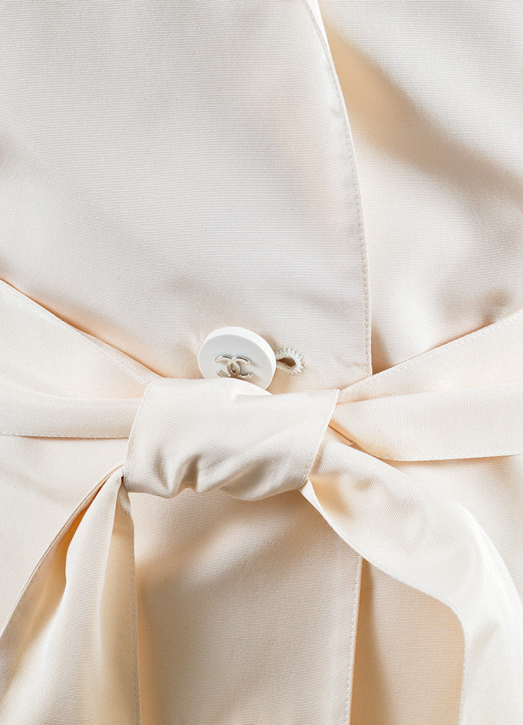 Chanel Cream Silk Long 'CC' Button Belted Jacket Detail
