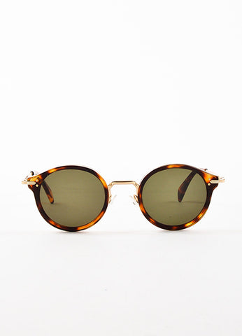 Celine Black Tinted Lens Brown Tortoise Gold Toned Metal Circle Frame Sunglasses Frontview