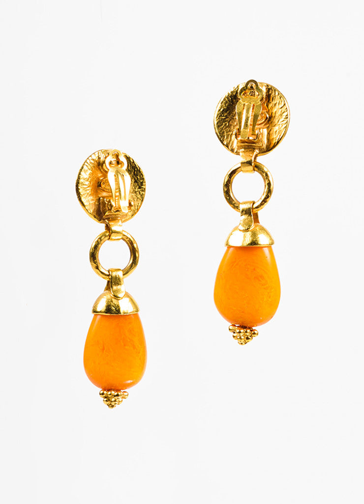 Gold Toned and Orange Bead Chanel 'CC' Hammered Drop Clip On Earrings Backview