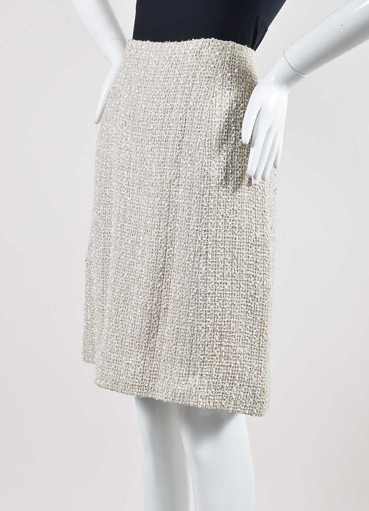 Cream Chanel Woven Tweed Knee Length A-Line Skirt Sideview
