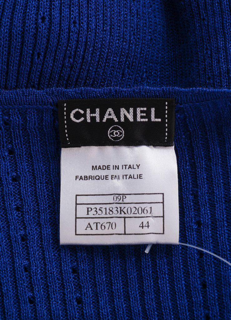 "Chanel Blue Short Sleeve Scoop Neck ""CC"" Knit Top Brand"