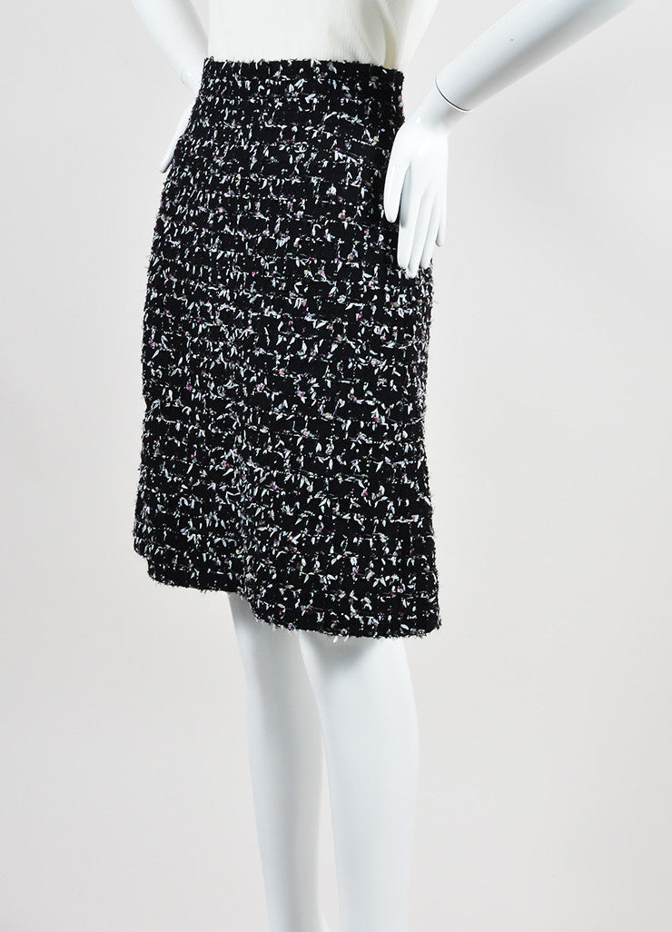 Black and Multicolor Chanel Wool Tweed Tie Embellished A-Line Skirt Sideview
