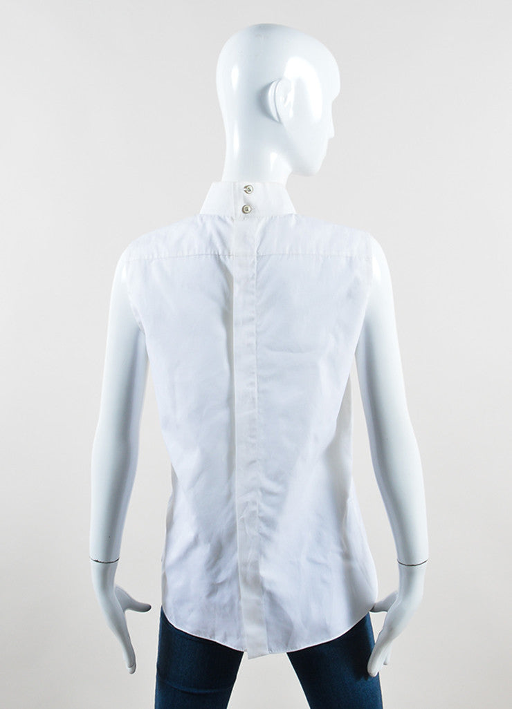 Chanel White Poplin Silk Chiffon Bow Pleated Sleeveless Blouse Backview