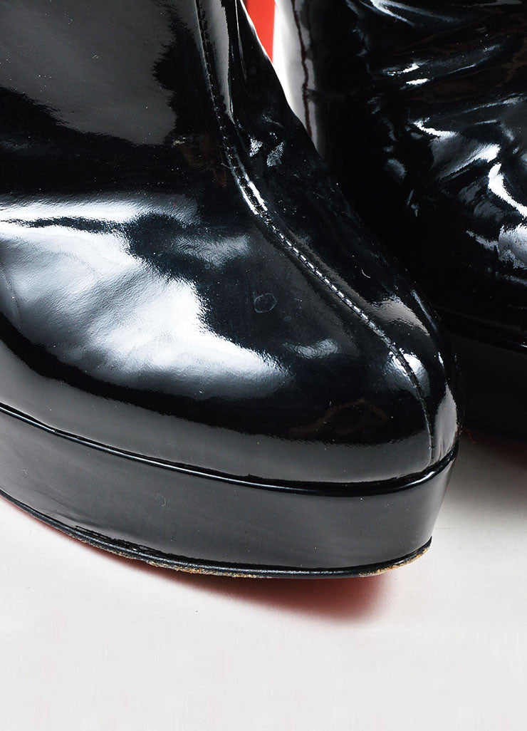 "Black Christian Louboutin Patent Leather ""Moulage"" Ankle Booties Detail"