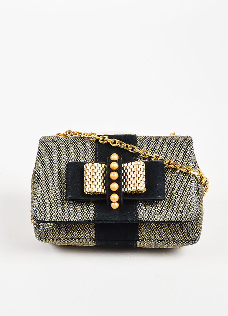 "Christian Louboutin Grey Gold Metallic Chain ""Mini Sweet Charity"" Bag Front"