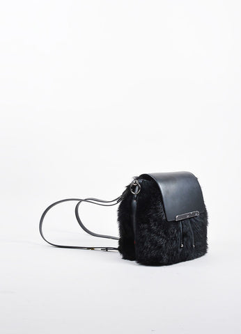 "Christian Louboutin Black Leather Faux Fur ""Lucky L"" Bucket Backpack Sideview"