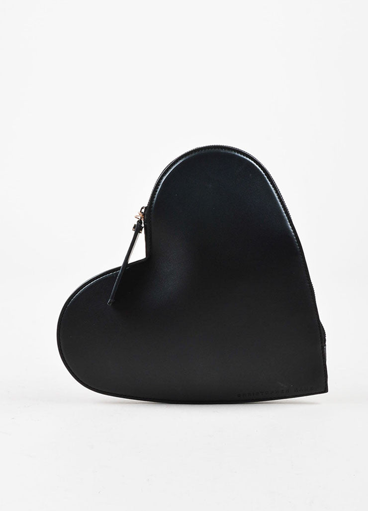 Christopher Kane Black Leather Zip Around Heart Shaped Clutch Bag Frontview