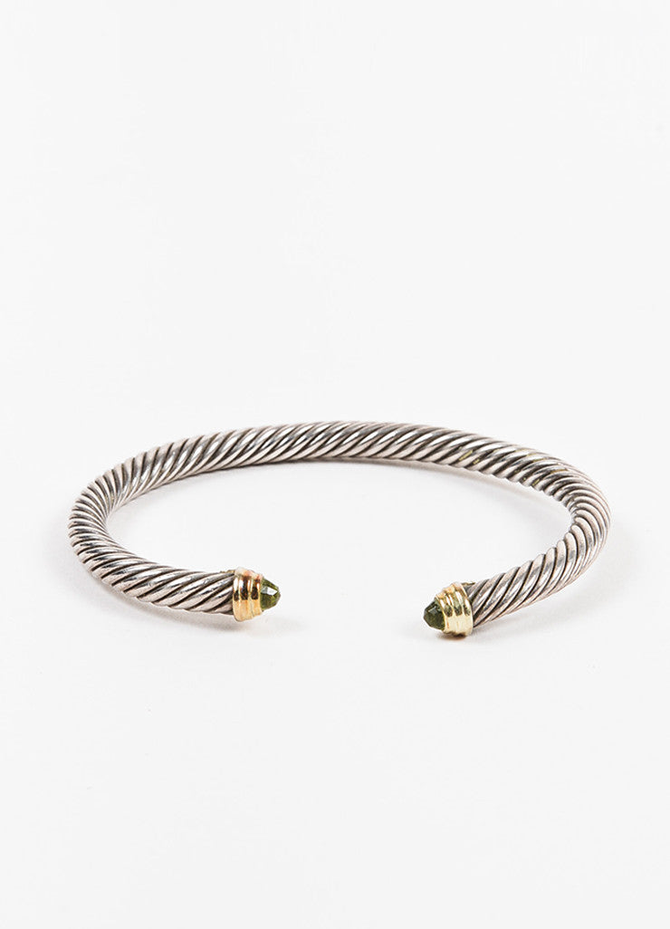 David Yurman Sterling Silver, 18K Gold, and Peridot Cable Bangle Bracelet Frontview