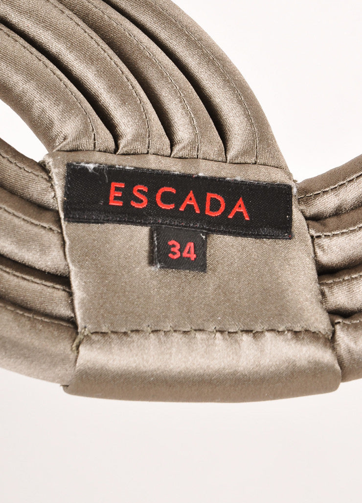 Escada Grey Rolled and Banded Satin Waist Belt Brand
