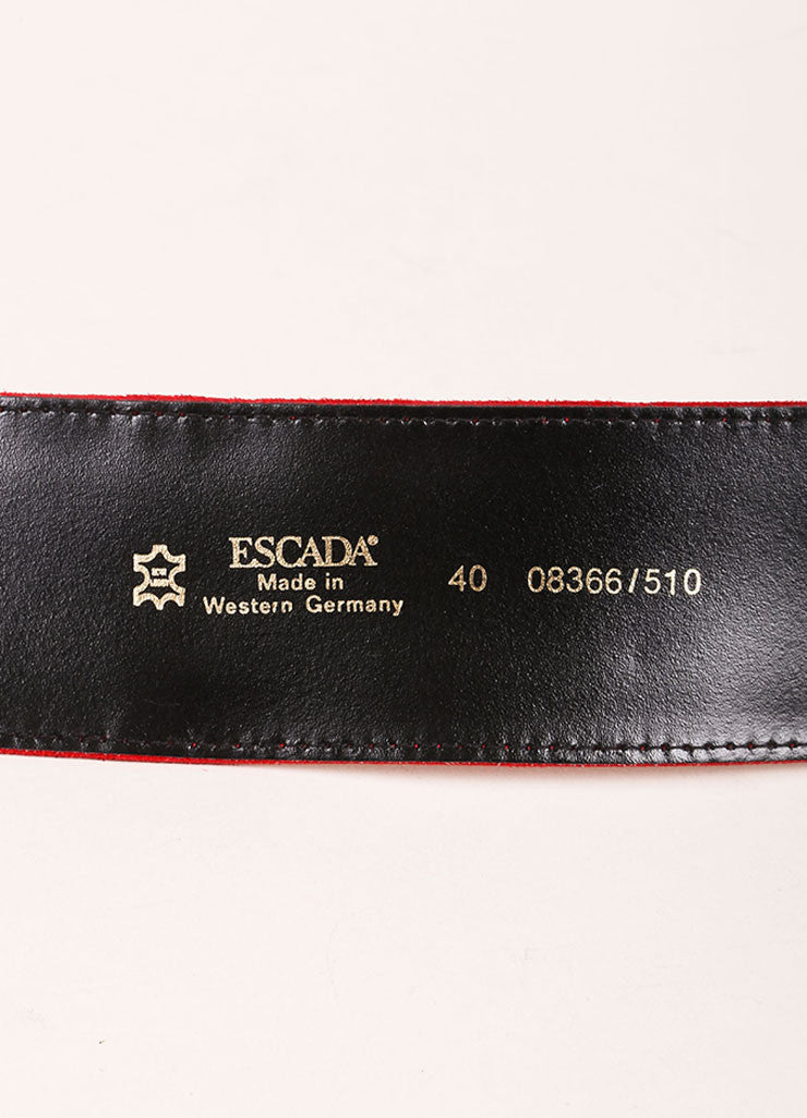 Escada Red, Black, and Gold Toned Suede Chain Link Faux Gem Oversized Belt Brand
