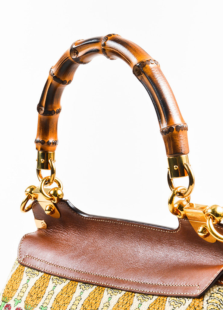"Gucci Brown and Cream Canvas Leather ""Pigna"" Pattern Bamboo Handle ""Peggy"" Hobo Bag Detail 2"