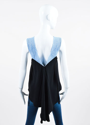 Blue and Black Jonathan Simkhai Crochet Strap Asymmetrical Tank Top Backview