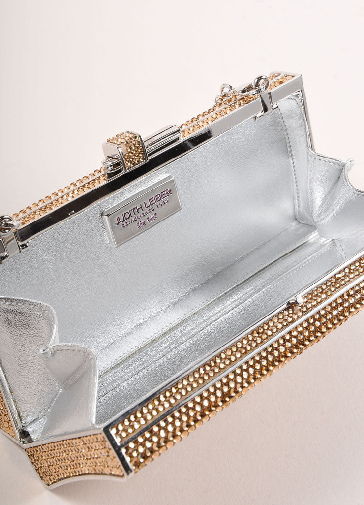 Judith Leiber Gold Crystal Rhinestone Small Rectangular Minaudiere Clutch Bag Interior