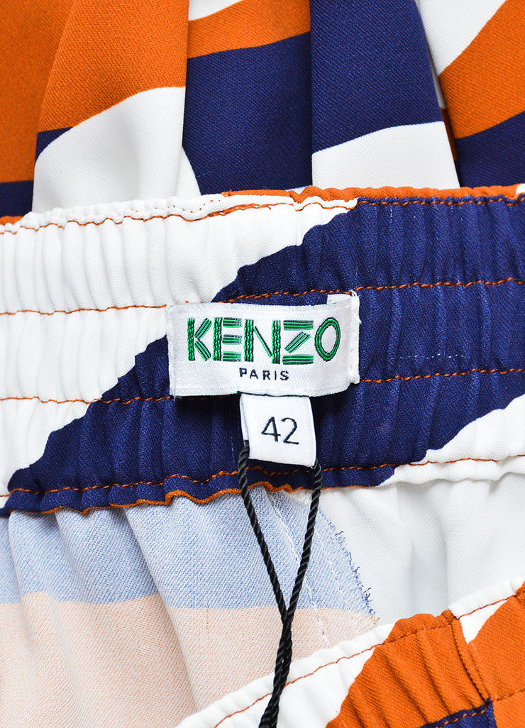Navy, White, and Brown Kenzo Z Stripe Drop Crotch Jogger Trousers Brand