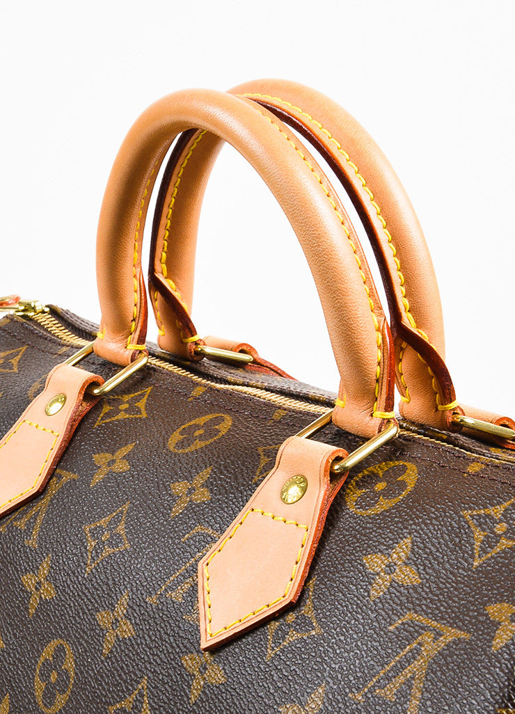 "Louis Vuitton Brown and Tan Coated Canvas Leather Trim Monogram ""Speedy 30"" Bag Detail 2"