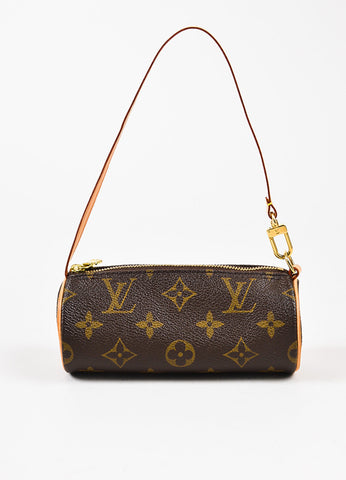 "Louis Vuitton Brown Coated Canvas Leather ""Mini Papillon"" Barrel Pochette Bag frontview"