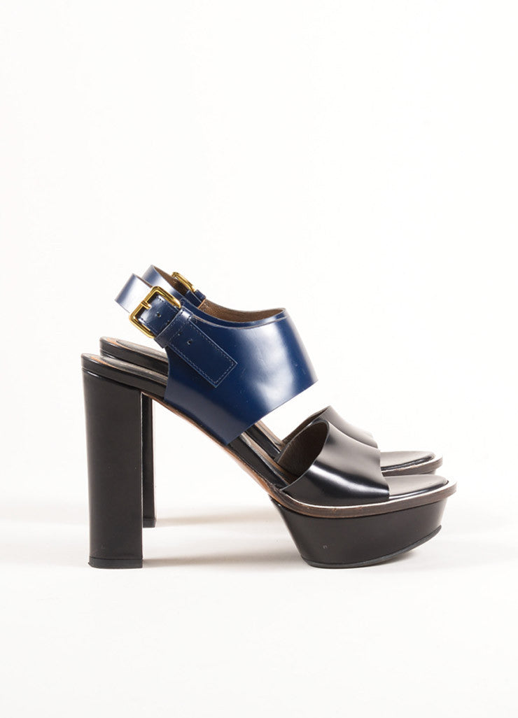 Marni Black and Navy Glossy Leather Slingback Platform Sandals Sideview