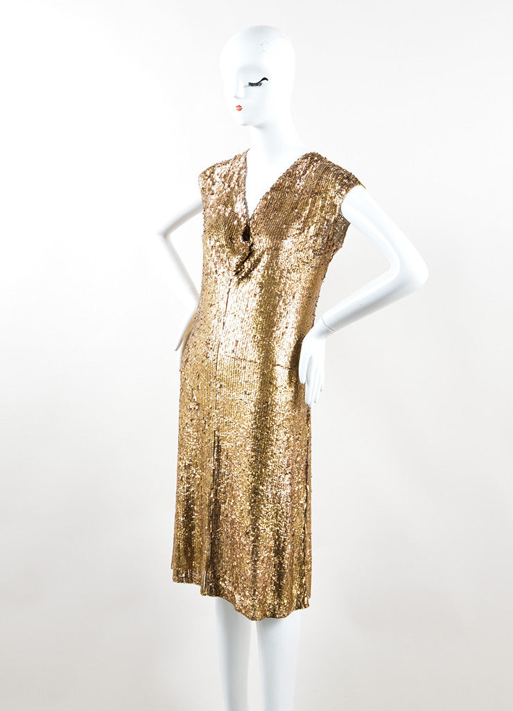 Marni Gold Sequin Semi Sheer Sleeveless Dress Sideview