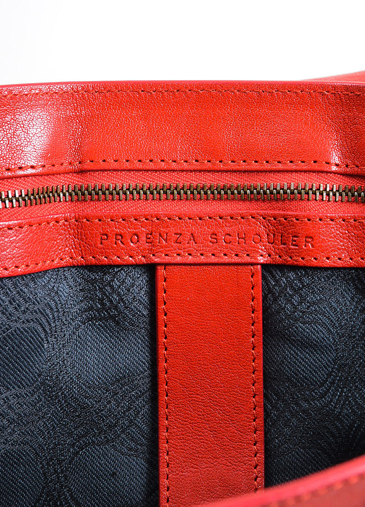 Red Leather Gold Toned Hardware Proenza Schouler Large PS1 Satchel Bag Brand