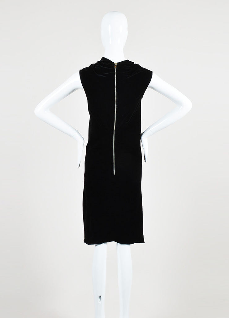 Black Rick Owens Velvet Cowl Neck Sleeveless Dress Backview