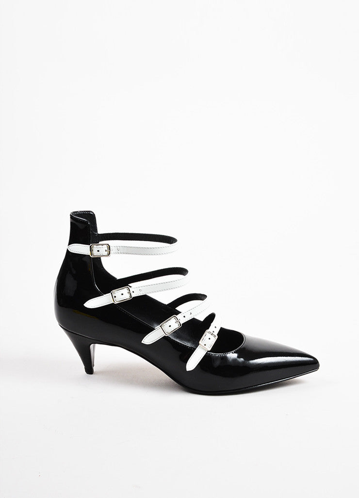 Saint Laurent Black White Patent Leather Pointed Toe Buckle Heels Front 2