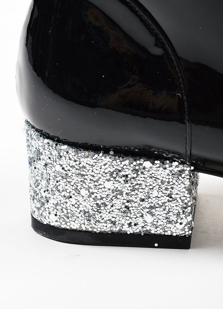 Black Saint Laurent Patent Glitter Heel Knee High Boots Detail
