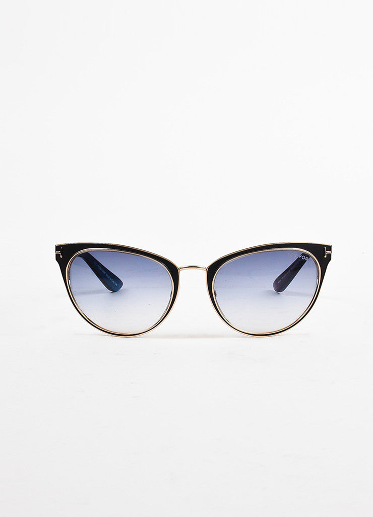 "Tom Ford Black, Blue, and Red Metallic ""Nina"" Cat Eye Sunglasses Frontview"