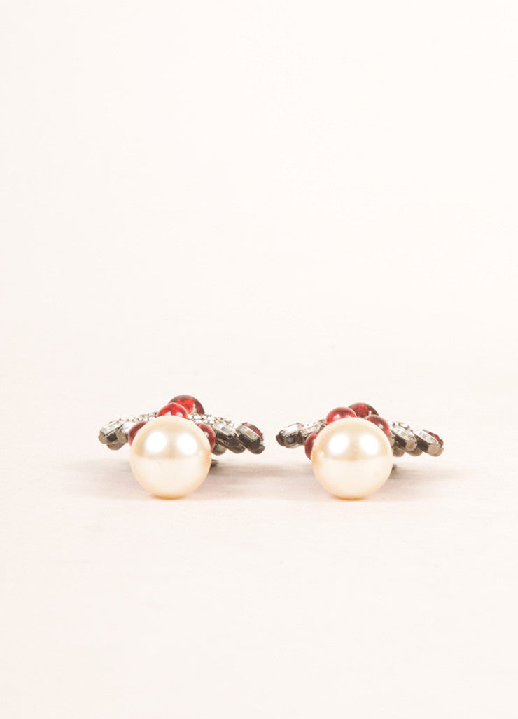 Treasures of the Duchess by Kenneth Jay Lane Ruby, Crystal, and Faux Pearl Earrings Sideview