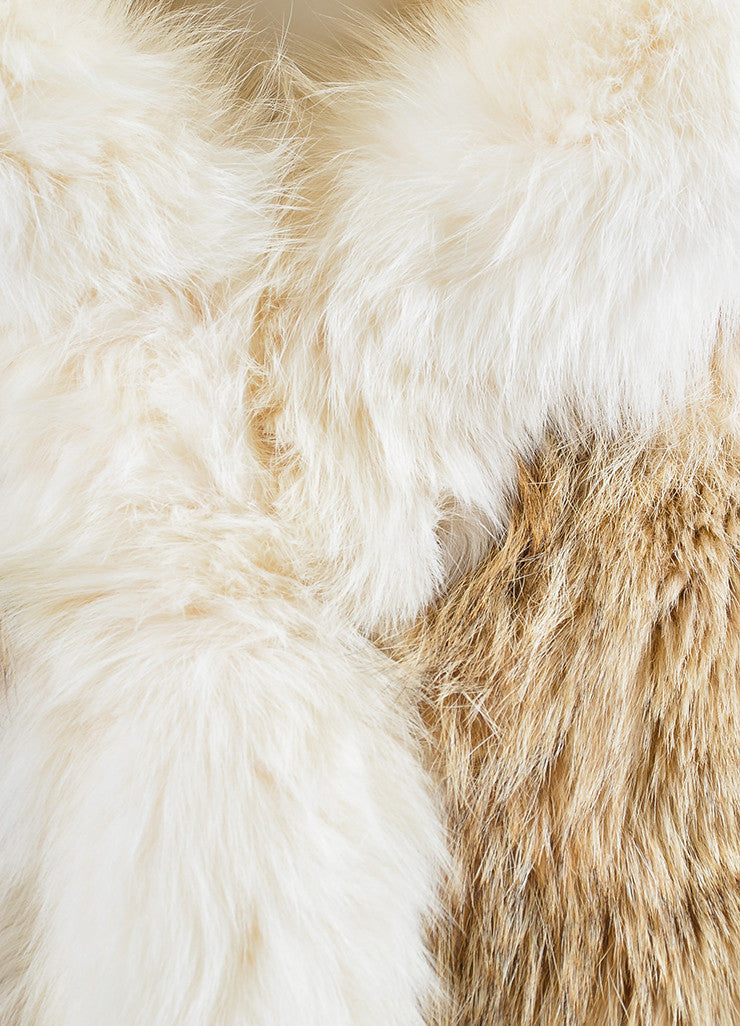 Cream, Beige, and Brown Fox Fur Winter Coat Detail