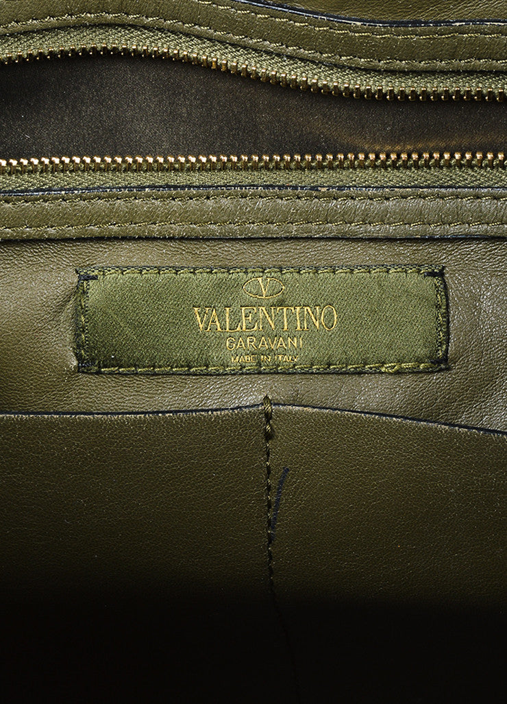 "Valentino Garavani Green and Black Canvas and Leather Camo ""Rockstud"" Tote Brand"