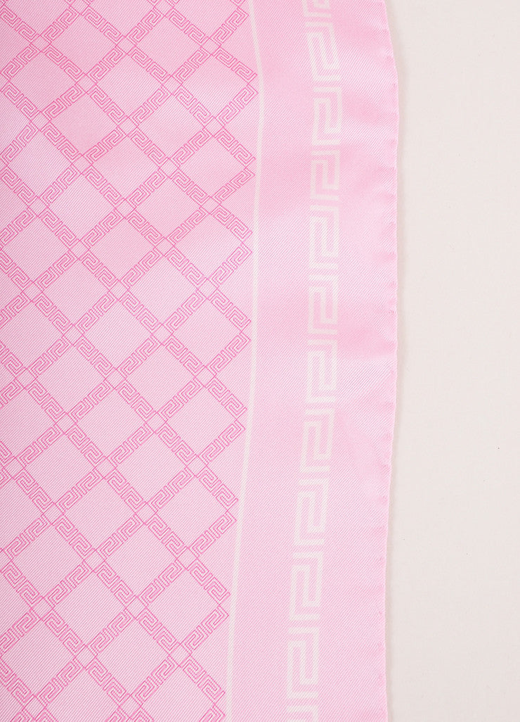Versace Pink and Cream Frieze Pattern Silk Scarf Detail 2