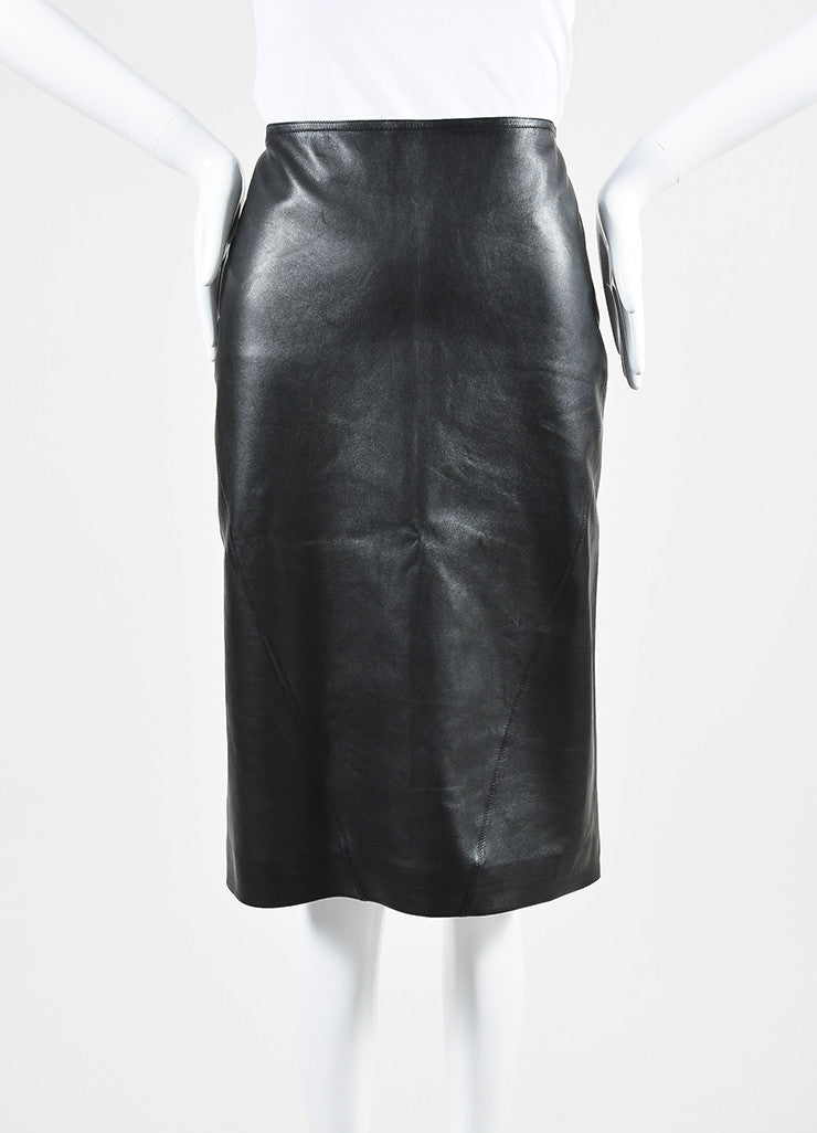 Black Alaia Lamb Leather Straight Cut Pencil Skirt Frontview