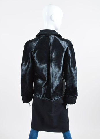 Black Alberta Ferretti Wool and Sheep Hair Below the Knee Length Coat Backview