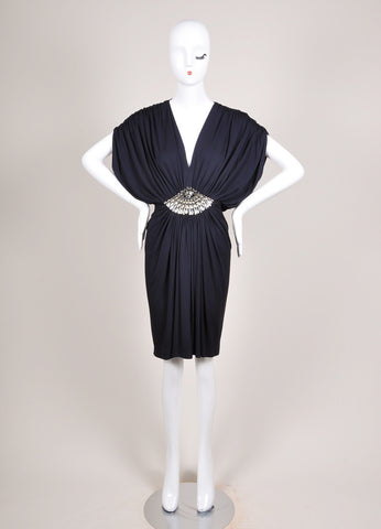 Azzaro Navy Jersey Knit Rhinestone Embellished Ruched Sleeveless Dress Frontview