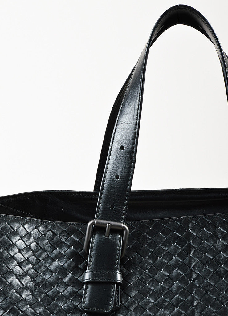 Bottega Veneta Black Intrecciato Woven Leather Buckle Strap Oversized Tote Bag Detail 2