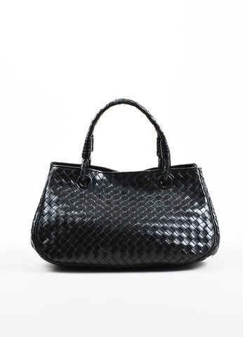 Bottega Veneta Black Leather Intrecciato Woven East West Tote Bag Front