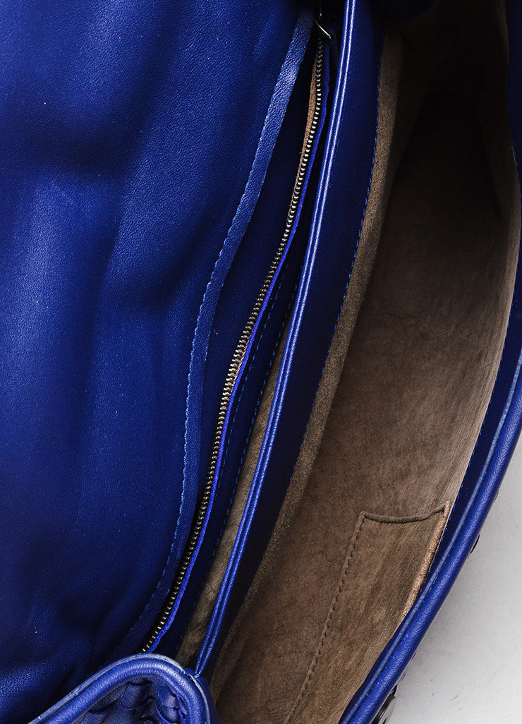 "Blue Bottega Veneta Leather Intrecciato Medium ""Olimpia"" Shoulder Bag Detail 4"