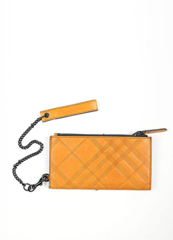"Black and Tan Burberry Leather Check Embossed ""Newport"" Wristlet Wallet Backview"