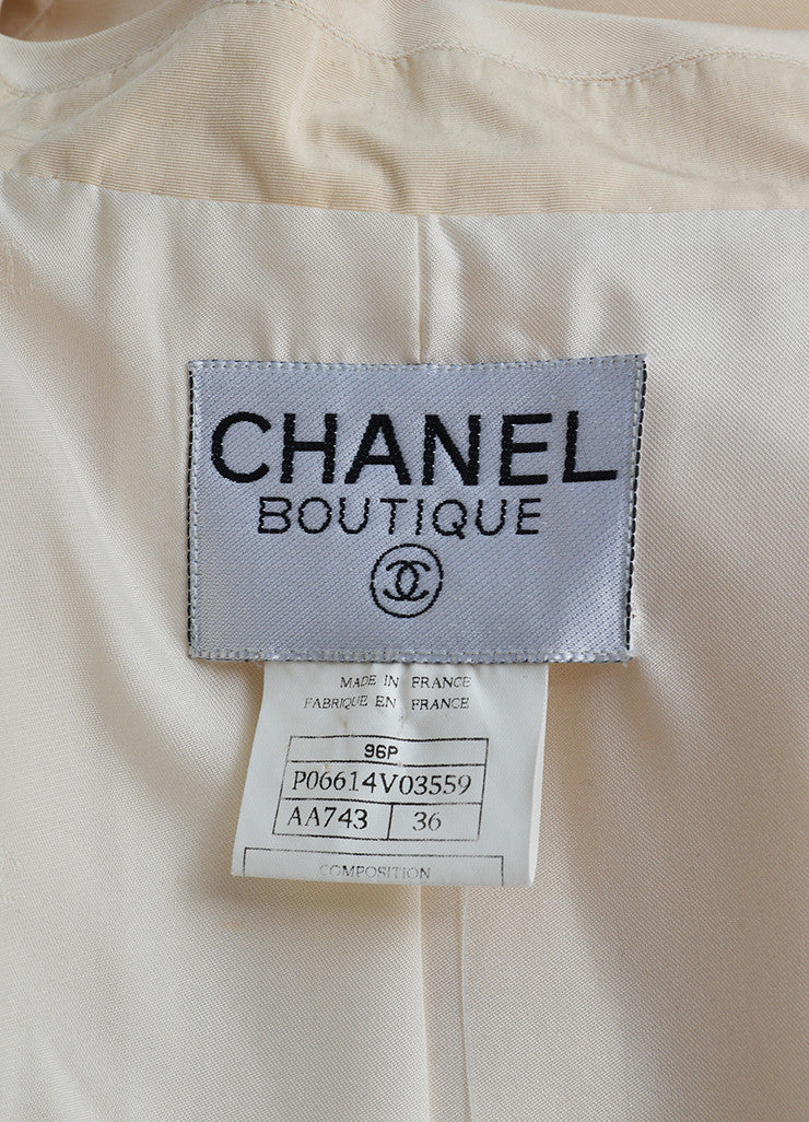 Chanel Cream Silk Long 'CC' Button Belted Jacket Brand