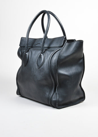 "Black Celine Leather Gold Toned Hardware Medium ""Luggage"" Tote Bag Sideview"